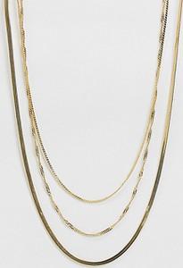 ASOS DESIGN – Pozłacany 14 karatowym złotem warstwowy naszyjnik-Złoty