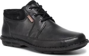Czarne buty zimowe Go Soft sznurowane z zamszu