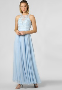 Niebieska sukienka Luxuar Fashion rozkloszowana z dekoltem halter maxi