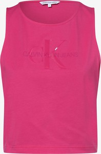 Różowa bluzka Calvin Klein z okrągłym dekoltem z bawełny