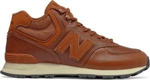 Pomarańczowe buty sportowe New Balance 574 ze skóry sznurowane