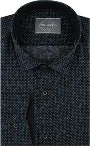 Czarna koszula Dust. z klasycznym kołnierzykiem z długim rękawem z tkaniny
