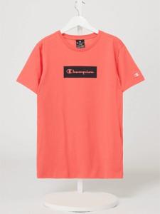 Pomarańczowa bluzka dziecięca Champion dla dziewczynek z krótkim rękawem z bawełny
