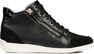 Czarne buty sportowe Geox sznurowane ze skóry ekologicznej z płaską podeszwą