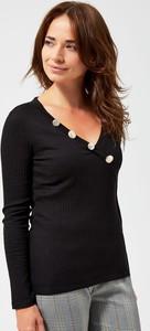 Bluzka Moodo z długim rękawem z dekoltem w kształcie litery v z bawełny