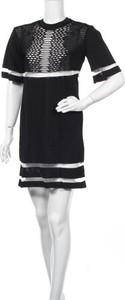 Czarna sukienka Alexander Wang For H&m z okrągłym dekoltem z długim rękawem w stylu casual