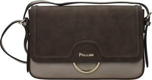 Brązowa torebka Pollini ze skóry matowa na ramię