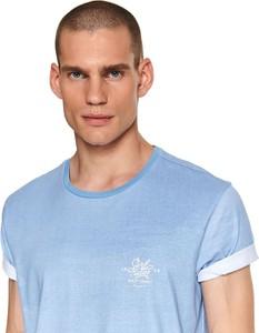 Niebieski t-shirt Top Secret z nadrukiem z krótkim rękawem