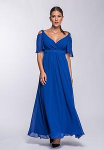 Niebieska sukienka Semper kopertowa z dekoltem w kształcie litery v z krótkim rękawem
