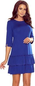 Niebieska sukienka NUMOCO z okrągłym dekoltem w stylu casual