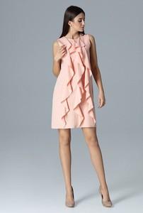 Różowa sukienka sukienki.pl z okrągłym dekoltem bez rękawów mini