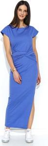 Niebieska sukienka Makadamia maxi z jeansu z krótkim rękawem