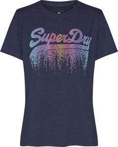 Granatowa bluzka Superdry z krótkim rękawem z okrągłym dekoltem