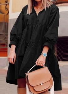 Sukienka Cikelly w stylu casual z dekoltem w kształcie litery v z długim rękawem