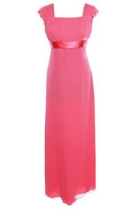 Czerwona sukienka Fokus maxi z przeźroczystą kieszenią w stylu glamour