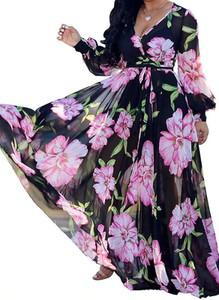 Czarna sukienka Arilook z długim rękawem z dekoltem w kształcie litery v maxi