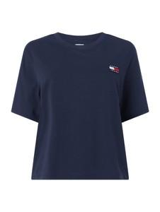 Granatowy t-shirt Tommy Jeans Curve z okrągłym dekoltem z krótkim rękawem