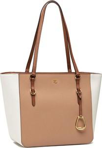 Brązowa torebka Ralph Lauren ze skóry duża na ramię