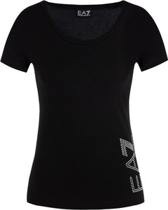 Czarny t-shirt EA7 Emporio Armani z okrągłym dekoltem w stylu casual