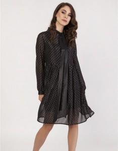 Czarna sukienka Milena Płatek z tkaniny z długim rękawem
