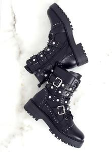 Czarne trapery damskie Buty Damskie ze skóry ekologicznej