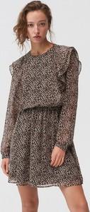 Sukienka Mohito mini z długim rękawem z szyfonu