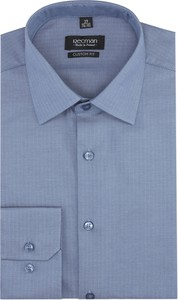 Niebieska koszula Recman z klasycznym kołnierzykiem z długim rękawem