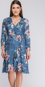 Niebieska sukienka Semper z długim rękawem z dekoltem w kształcie litery v z tkaniny