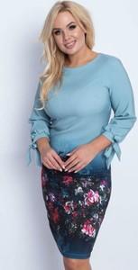 Niebieska sukienka Royalfashion.pl z okrągłym dekoltem mini prosta