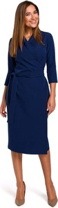 Niebieska sukienka MOE z długim rękawem midi dopasowana