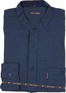 Granatowa koszula Aldo Vrandi z bawełny z długim rękawem