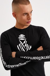 Czarna koszulka z długim rękawem DiverseExtreme z bawełny z długim rękawem w młodzieżowym stylu