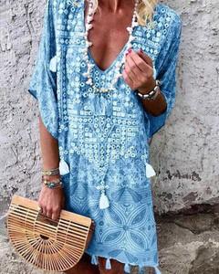 Niebieska sukienka Kendallme z długim rękawem w stylu boho mini
