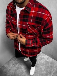 Czerwona koszula ozonee.pl z długim rękawem z klasycznym kołnierzykiem w stylu casual