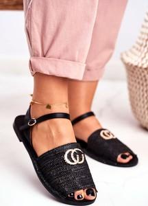 Czarne sandały Lu Boo z płaską podeszwą ze skóry ekologicznej