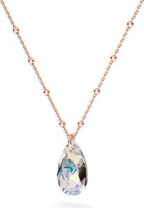 GIORRE ZŁOCONY NASZYJNIK Z KRYSZTAŁEM SWAROVSKIEGO MIGDAŁ : Kolor kryształu SWAROVSKI - Crystal AB, Kolor pokrycia srebra - Pokrycie Różowym 18K Złotem