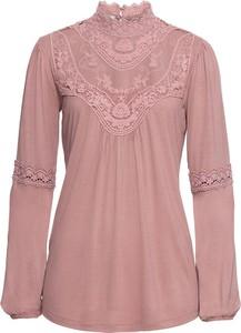 Różowa bluzka bonprix BODYFLIRT ze stójką z długim rękawem w stylu boho