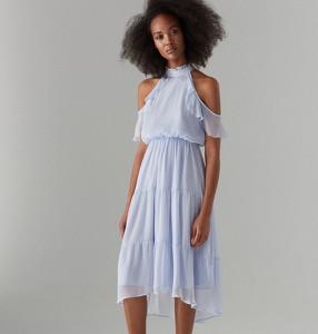 808c0a60a0 Niebieska sukienka Mohito z szyfonu z krótkim rękawem