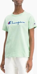 Zielony t-shirt Champion z bawełny z okrągłym dekoltem z krótkim rękawem