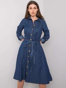 Sukienka Factory Price z kołnierzykiem z długim rękawem w stylu casual