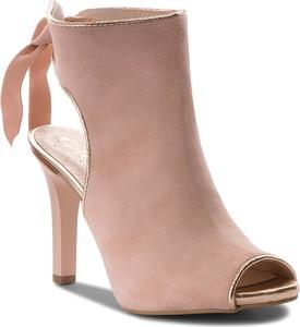 Różowe sandały Oleksy na szpilce na wysokim obcasie w stylu casual