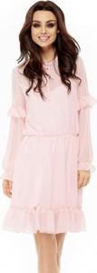 Różowa sukienka Lemoniade z szyfonu mini