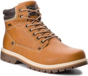 Brązowe buty zimowe Lanetti ze skóry ekologicznej sznurowane