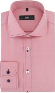 Różowa koszula Giacomo Conti z klasycznym kołnierzykiem z długim rękawem