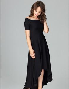 Czarna sukienka LENITIF z krótkim rękawem maxi asymetryczna