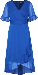 Sukienka DKNY z dekoltem w kształcie litery v z krótkim rękawem