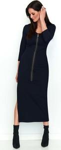 Sukienka Makadamia z bawełny z długim rękawem z dekoltem w kształcie litery v