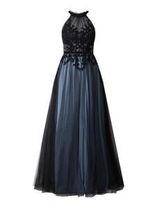 Niebieska sukienka Mascara bez rękawów z szyfonu