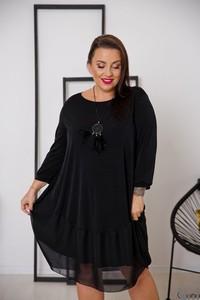 Czarna sukienka tono.sklep.pl w stylu casual bombka z okrągłym dekoltem