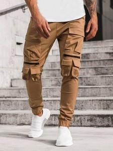 Brązowe spodnie ozonee.pl w młodzieżowym stylu z bawełny